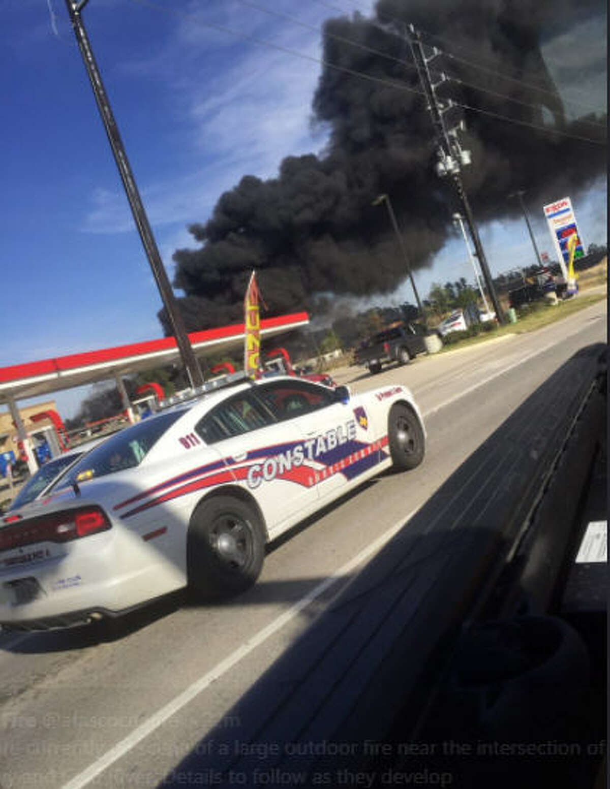 Atascocita Fire Department said they were responding to a large outdoor fire Sunday afternoon around 3 p.m.