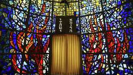 The stained glass in Temple Beth-El's Oppenheimer Chapel is the work of the late Texas artist Cecil Casebier.