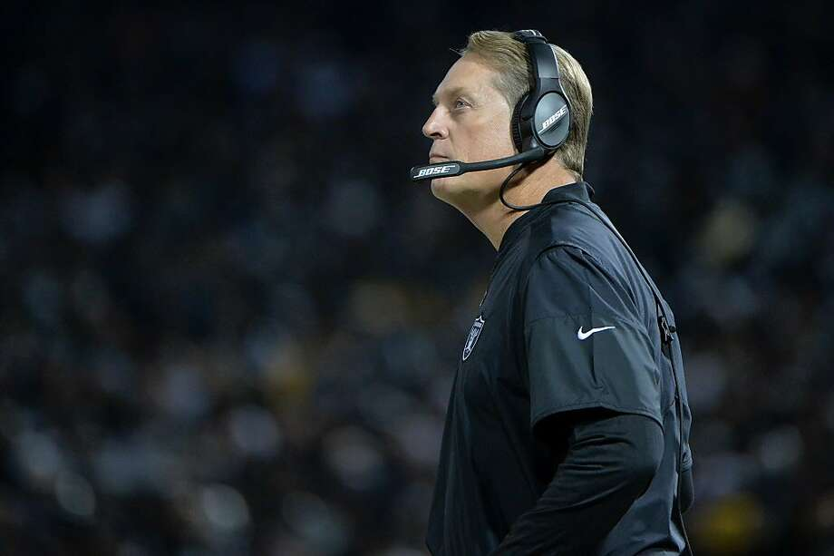 Head coach Jack Del Rio of the Oakland Raiders looks on during their NFL game against the Dallas Cowboys at Oakland-Alameda County Coliseum on December 17, 2017 in Oakland, California. Photo: Don Feria, Getty Images