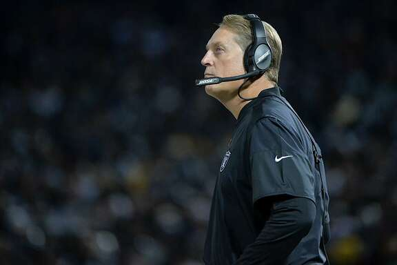 OAKLAND, CA - DECEMBER 17:  Head coach Jack Del Rio of the Oakland Raiders looks on during their NFL game against the Dallas Cowboys at Oakland-Alameda County Coliseum on December 17, 2017 in Oakland, California.  (Photo by Don Feria/Getty Images)