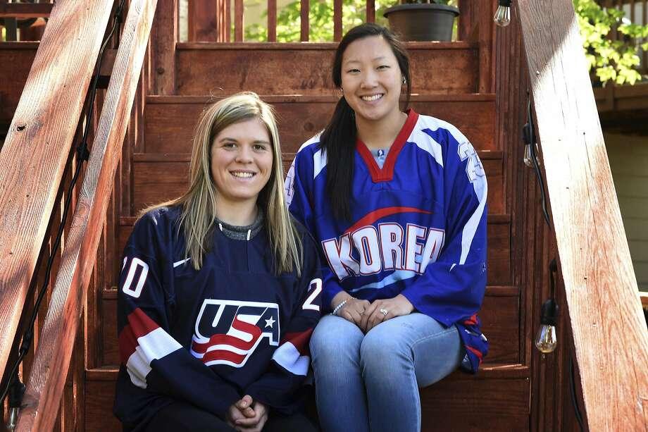 Hannah Brandt (left) is a forward for the U.S. women's Olympic hockey team; Marissa Brandt is a defender for South Korea. Photo: Scott Takushi, Associated Press
