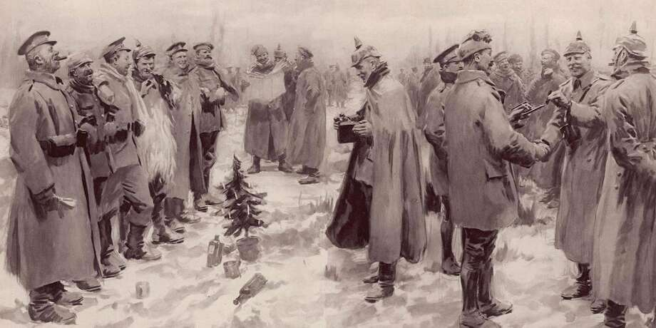 WWI is known for gruesome trench warfare, but on Christmas Day, 1914, a spontaneous truce broke out. Some units in the warring parties — the armies of France and Britain on one side, and Germany on the other — put down their weapons for the briefest of moments to celebrate a holiday that brought opposing sides together. Photo: Wikimedia Commons