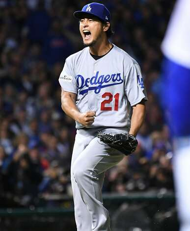 Los Angeles Dodgers pitcher Yu Darvish celebrates after the Chicago Cubs' John Jay grounded into a double play in the sixth inning during Game 3 of the National League Championship Series at Wrigley Field in Chicago on Tuesday, Oct. 17, 2017. (Wally Skalij/Los Angeles Times/TNS) Photo: Wally Skalij, TNS