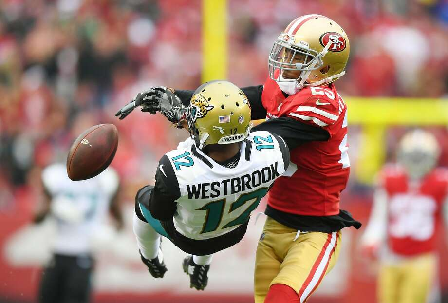 SANTA CLARA, CA - DECEMBER 24:  Ahkello Witherspoon #23 of the San Francisco 49ers breaks up the pass to Dede Westbrook #12 of the Jacksonville Jaguars during their NFL football game at Levi's Stadium on December 24, 2017 in Santa Clara, California.  (Photo by Thearon W. Henderson/Getty Images) Photo: Thearon W. Henderson, Getty Images