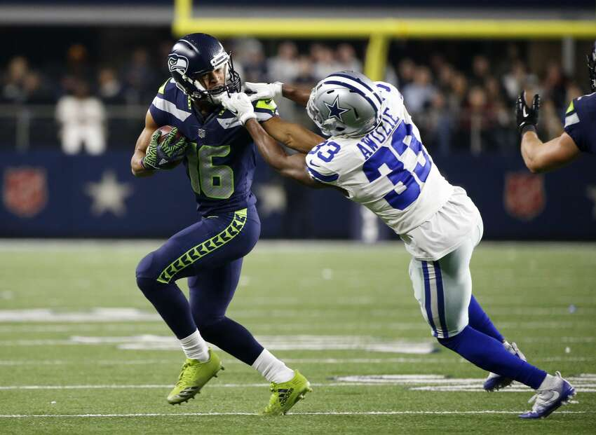 NO. 4: TYLER LOCKETT, WIDE RECEIVER Lockett, who's heading into his fourth NFL season, could very well have the season of his life in 2018. No. 1, he's 100 percent healthy from that gruesome lower-leg injury in 2016. No. 2, the opportunity is there in the Seahawks's receiving core. And No. 3, he's in the final year of his rookie deal. Lockett had 45 receptions for 555 yards and two touchdowns in 2017 -- a year which he says he played at 75 to 80 percent. He'll be expected to make a major leap this season as the No. 2 wide receiver on the roster behind Doug Baldwin. Paul Richardson, last season's no. 2, is now with the Redskins. Tight end Jimmy Graham, who led the team with 10 receiving touchdowns last year, is also gone. Lockett had six catches for score as a rookie -- his career-best -- and has the opportunity to finally top that mark in year four. 800 yards receiving would be a phenomenal (and totally possible) 2018 for Lockett. If he can do that, Seattle will pay him.