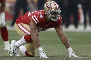 San Francisco 49ers defensive end Solomon Thomas (94) against the Jacksonville Jaguars during the second half of an NFL football game in Santa Clara, Calif., Sunday, Dec. 24, 2017. (AP Photo/Marcio Jose Sanchez)