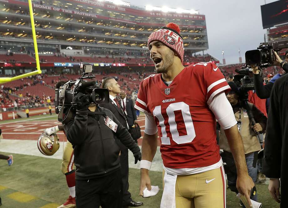 San Francisco 49ers quarterback Jimmy Garoppolo (10) celebrates after the 49ers beat the Jacksonville Jaguars 44-33 in an NFL football game in Santa Clara, Calif., Sunday, Dec. 24, 2017. (AP Photo/Marcio Jose Sanchez) Photo: Marcio Jose Sanchez, Associated Press