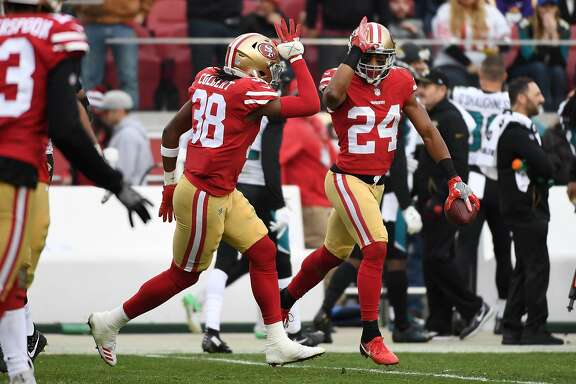 SANTA CLARA, CA - DECEMBER 24:  K'Waun Williams #24 of the San Francisco 49ers celebrates after an interception of Blake Bortles #5 of the Jacksonville Jaguars during their NFL game at Levi's Stadium on December 24, 2017 in Santa Clara, California.  (Photo by Robert Reiners/Getty Images)
