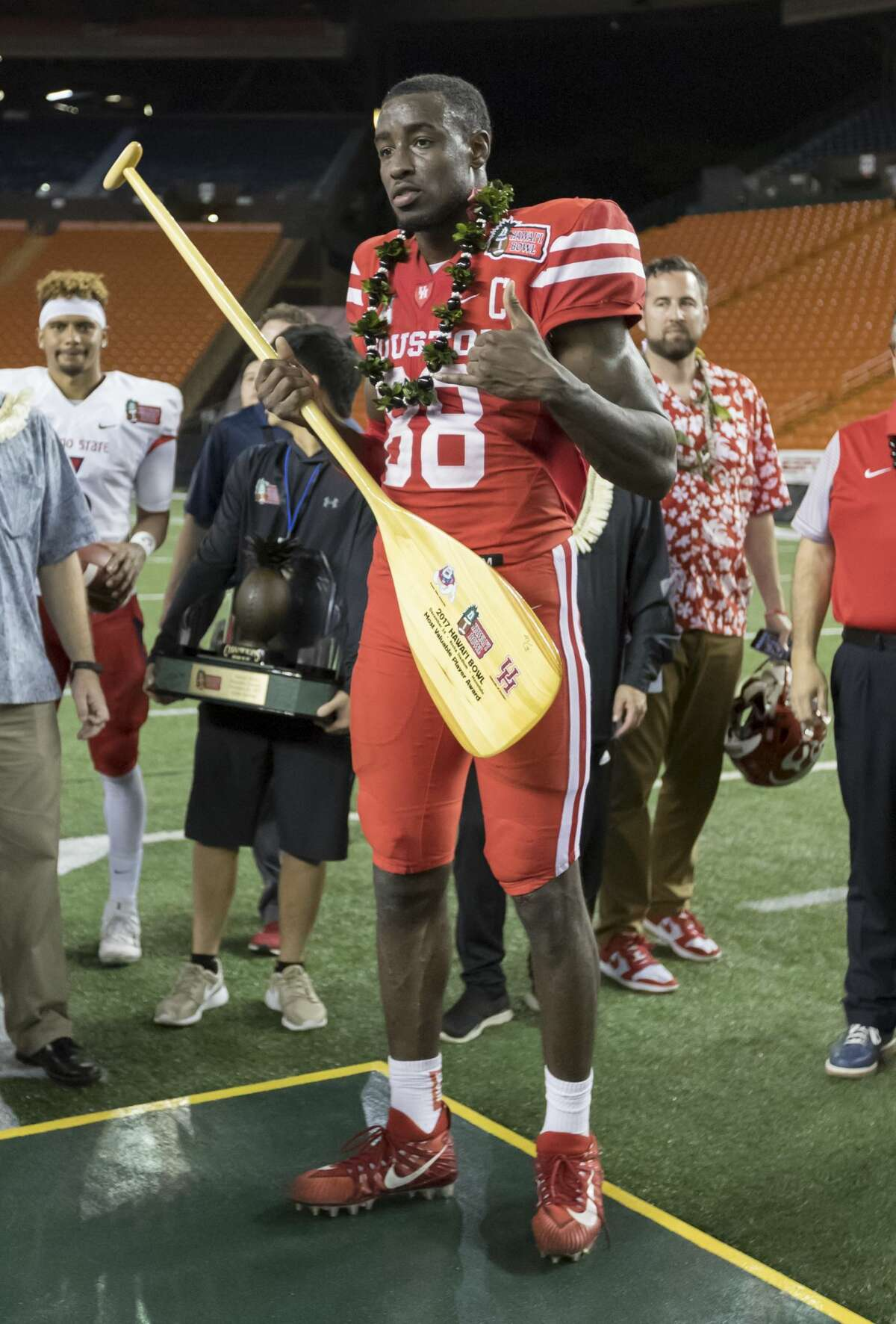 Houston wide receiver Steven Dunbar (88) was named the most valuable play for his team at in the Hawaii Bowl NCAA college football game, Sunday, Dec. 24, 2017, in Honolulu. Fresno State beat Houston 33-27. (AP Photo/Eugene Tanner)