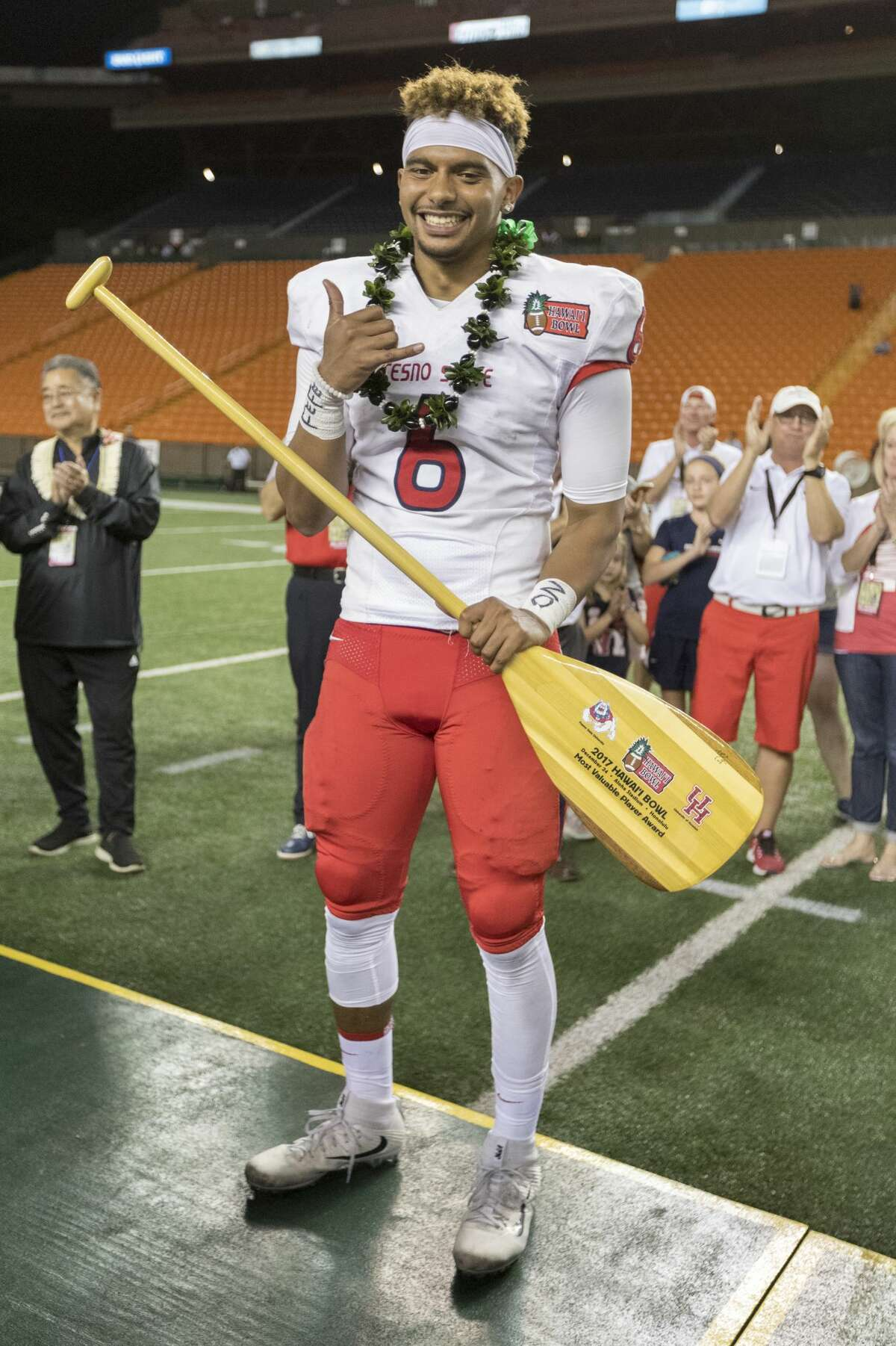 Fresno State quarterback Marcus McMaryion (6) was named the MVP for his team after the Hawaii Bowl NCAA college football game, Sunday, Dec. 24, 2017, in Honolulu. Fresno State beat Houston 33-27. (AP Photo/Eugene Tanner)