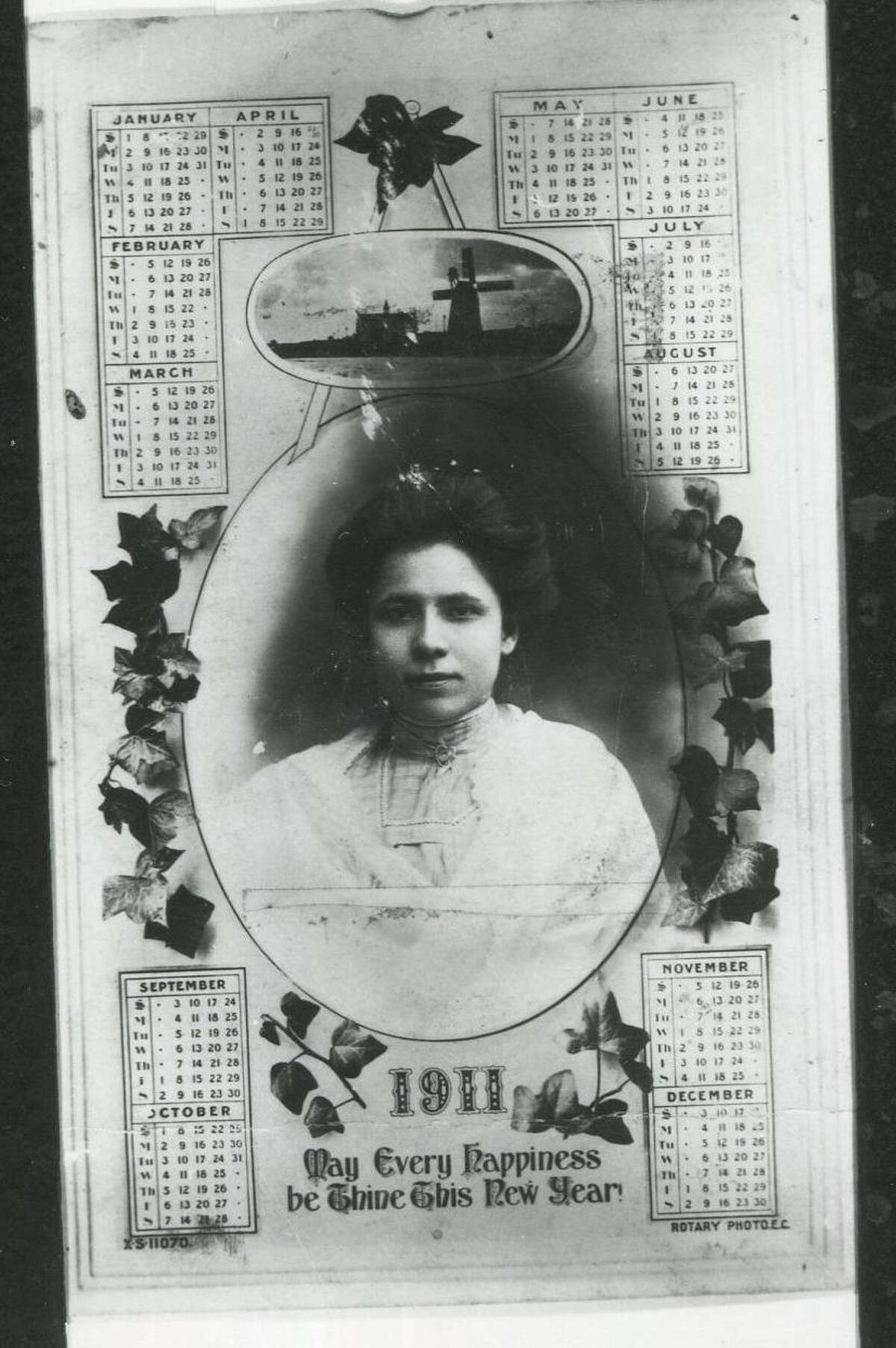 This 1911 calendar, distributed as a New Year's card, features a portrait of journalist and civil rights activist Jovita Idar.