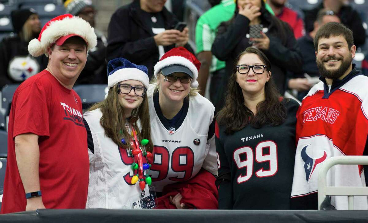 Houston Texans fans watch warm ups before an NFL football game against the Pittsburgh Steelers at NRG Stadium on Monday, Dec. 25, 2017, in Houston.
