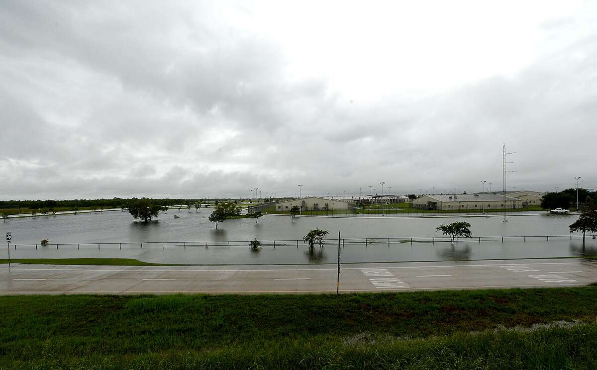By Sunday afternoon, after Harvey's heavy rain bands moved into the area throughout the morning, the. Grounds surrounding the prison complex was well flooded. Photo taken Sunday, August 27, 2017 Kim Brent/The Enterprise