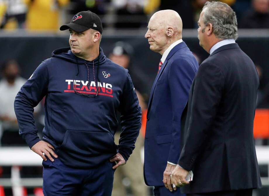 Texans coach Bill O'Brien, owner Bob McNair and chief operating officer Cal McNair comprise three-fourths of the search committee to find the general manager to replace Rick Smith. Photo: Brett Coomer, Houston Chronicle / © 2017 Houston Chronicle