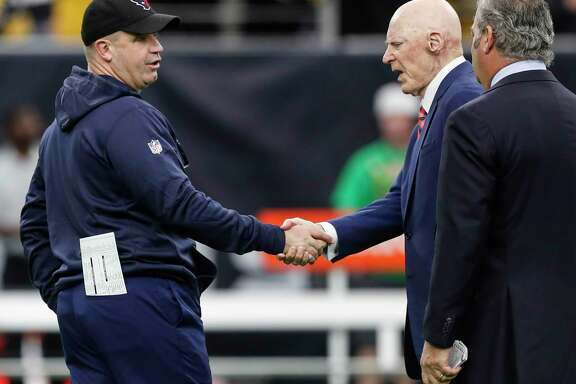 Houston Texans head coach Bill O'Brien greets owner Bob McNair before an NFL football game against the Pittsburgh Steelers at NRG Stadium on Monday, Dec. 25, 2017, in Houston.