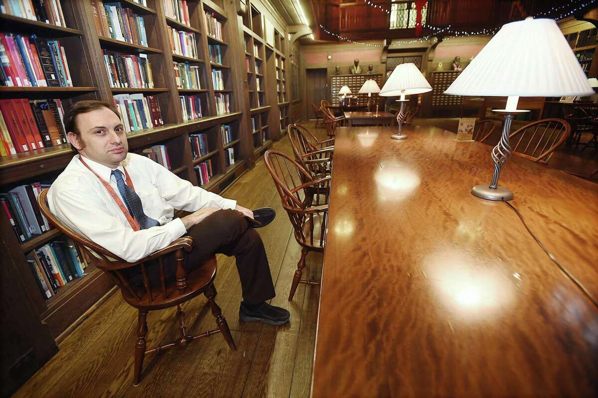 Dr. Michael Bloch is studying whether components in marijuana will help treat symptoms of Tourette syndrome in adults. He was photographed Thursday at the Cushing/Whitney Medical Library.