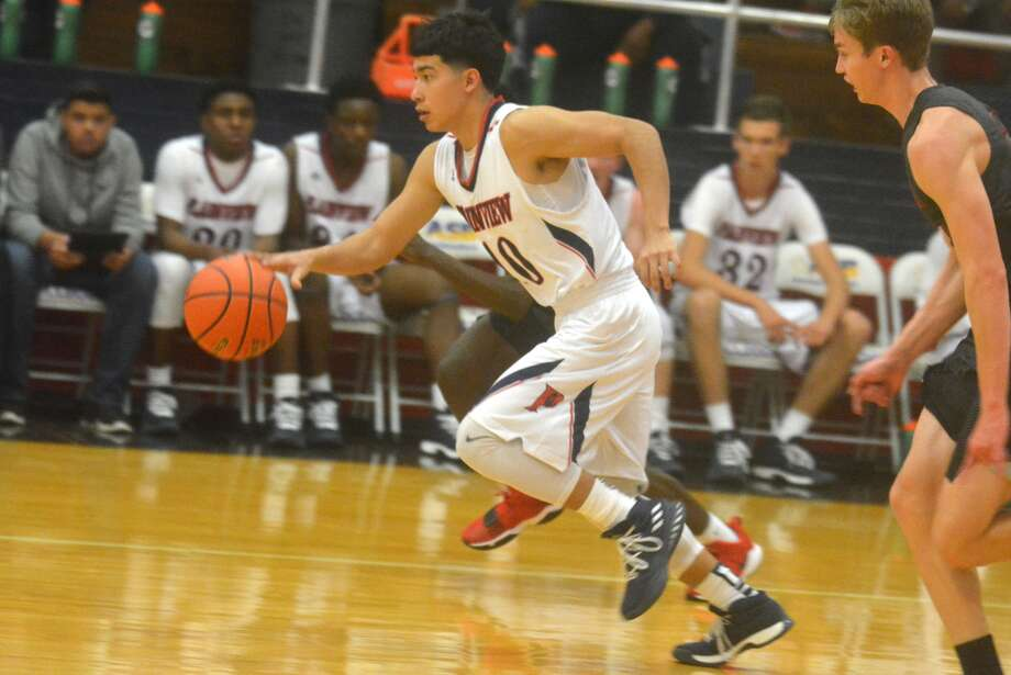 Plainview's Adrian Hinojosa is off to the races as he dribbles up the court during a game earlier this season. Photo: Skip Leon/Plainview Herald
