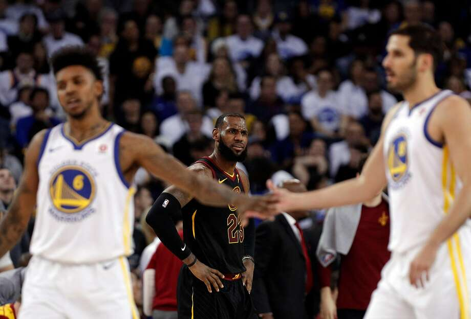 LeBron James (23) reacts to a call in the first half as the Golden State Warriors played the Cleveland Cavaliers at Oracle Arena in Oakland, Calif., on Monday, December 25, 2017. Photo: Carlos Avila Gonzalez, The Chronicle