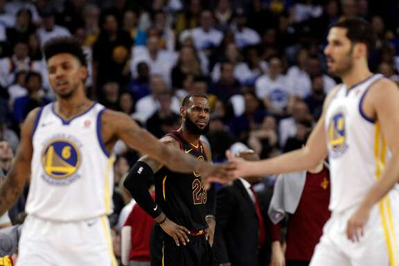 LeBron James (23) reacts to a call in the first half as the Golden State Warriors played the Cleveland Cavaliers at Oracle Arena in Oakland, Calif., on Monday, December 25, 2017.