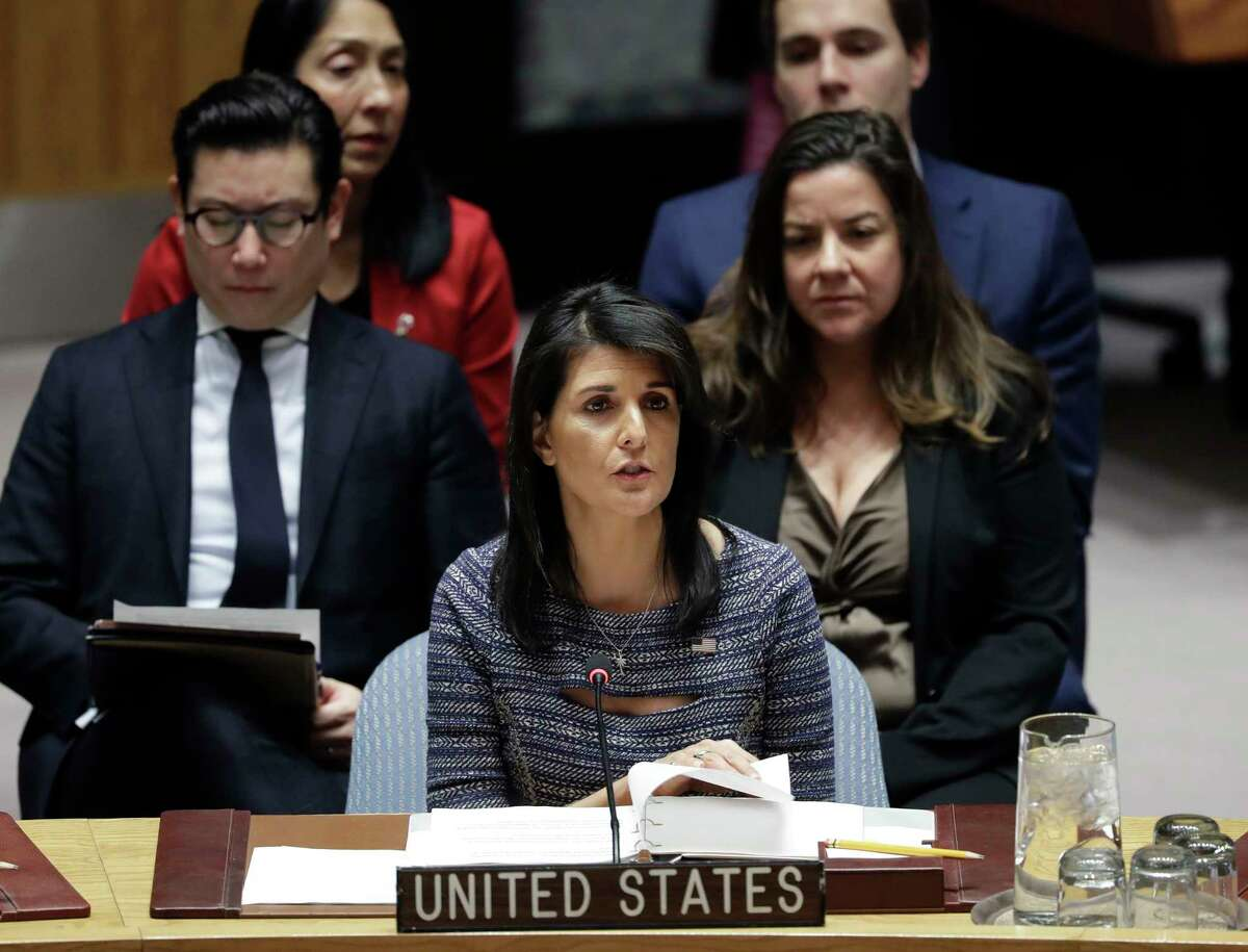 FILE - In this Dec. 22, 2017, file photo, U.S. Ambassador Nikki Haley speaks in favor of a resolution at United Nations headquarters. The U.S. government said Sunday, Dec. 24, it had negotiated a significant cut in the United Nations budget. Haley said that the Â?