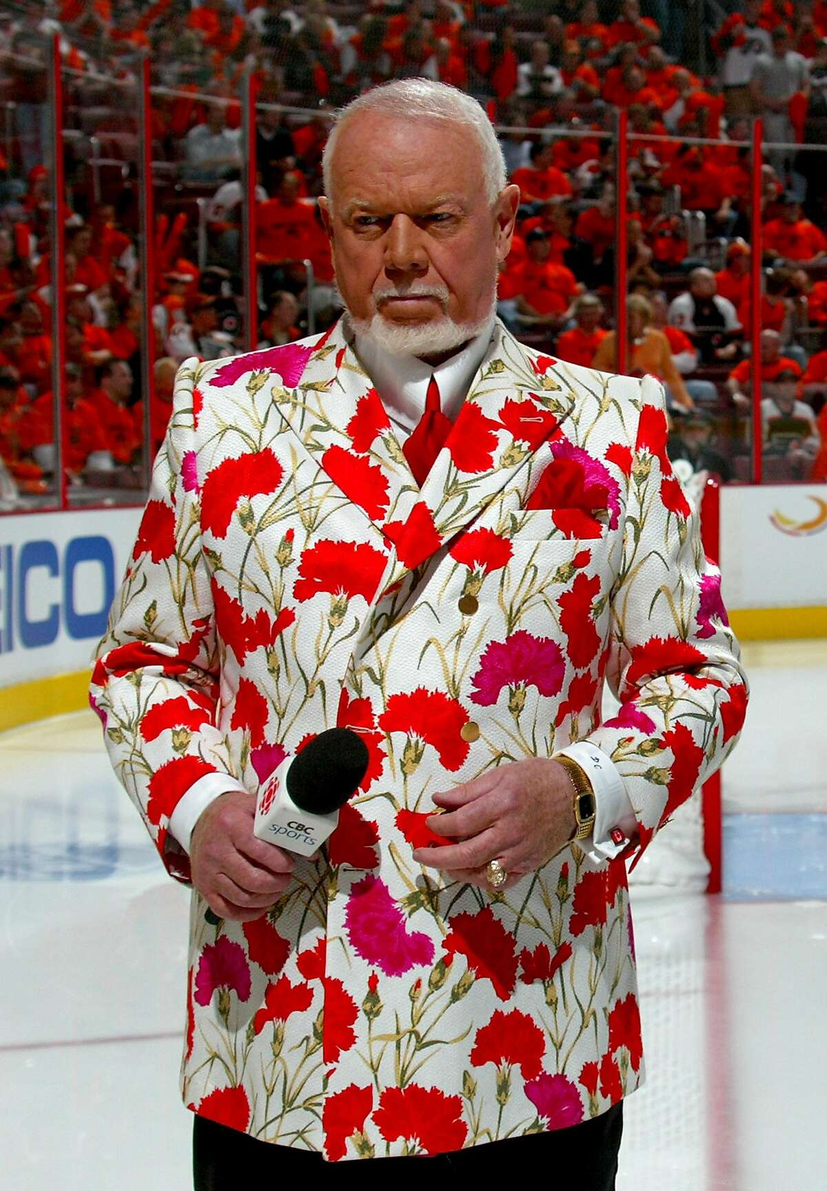PITTSBURGH - MAY 13: Hockey commentator Don Cherry stands on the ice before the start of game three of the Eastern Conference Finals of the 2008 NHL Stanley Cup Playoffs between the Pittsburgh Penguins and the Philadelphia Flyers at Wachovia Center on May 13, 2008 in Philadelphia, Pennsylvania.