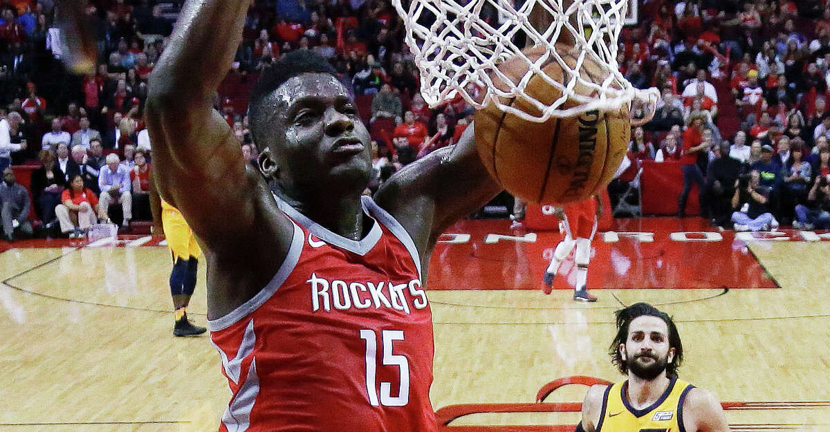 Houston Rockets center Clint Capela (15) dunks during the second half of an NBA basketball game, Monday, Dec. 18, 2017, in Houston. Houston won the game 120-99. (AP Photo/Eric Christian Smith)