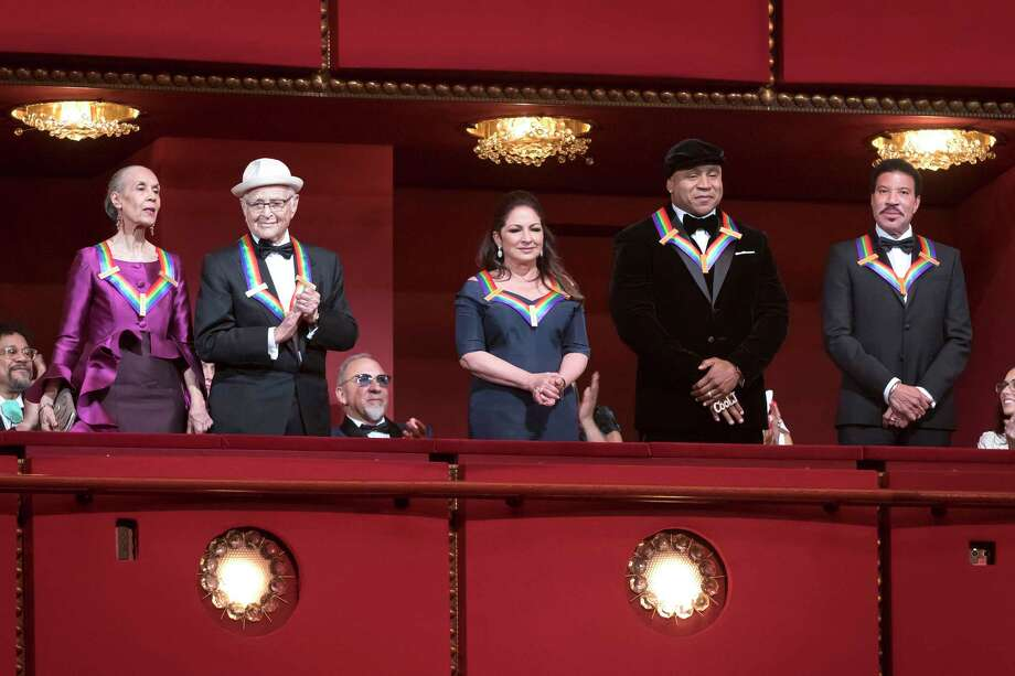 The 2017 Kennedy Center Honors recipients are introduced to the full house at the Kennedy Center Opera House during the Honors Gala Performance on Sunday. From left to right: Carmen de Lavallade, Norman Lear, Gloria Estefan, LL Cool J, Lionel Richie. MUST CREDIT: Photo by Scott Suchman courtesy of The Kennedy Center FOR USE WITH POST'S KENNEDY CENTER HONORS STORY ONLY ORG XMIT: 124.0.1075676094 / Courtesy