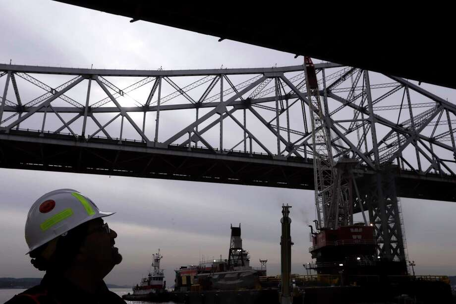 The Tappan Zee Bridge, which crosses the Hudson River north of New York City, in Tarrytown, N.Y., Dec. 15, 2017. The bridge, replaced by the nearby Gov. Mario M. Cuomo Bridge, is being dismantled piece by piece because environmental regulations meant to protect the Hudson prevent demolition. (Rick Loomis/The New York Times) Photo: RICK LOOMIS / NYTNS