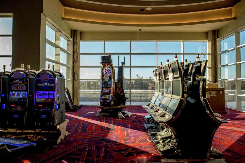 Electronic slot machines at the Resorts World Catskills, which is looking to open in February, in Monticello, N.Y., Dec. 17, 2017. Proponents say the $1.2 billion casino resort will revive Sullivan County, a once-booming area known as the borscht belt for its hotels, bungalow colonies and performers, appealing to Jewish vacationers. (Johnny Milano/The New York Times)