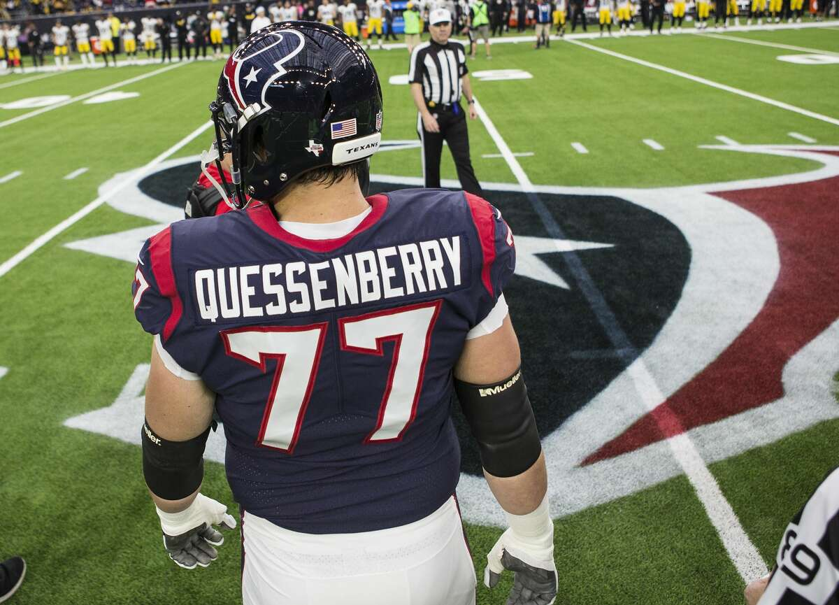 Texans offensive guard David Quessenberry (77) is a cancer survivor, so he knows exactly what general manager Rick Smith's wife Tiffany will face now that she is battling breast cancer.