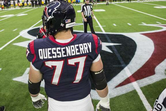 Houston Texans offensive guard David Quessenberry (77) walks to the center of the field as team captain before an NFL football game against the Pittsburgh Steelers at NRG Stadium on Monday, Dec. 25, 2017, in Houston. Quessenberry made his Texans debut after he was diagnosed with cancer in his rookie year. ( Brett Coomer / Houston Chronicle )