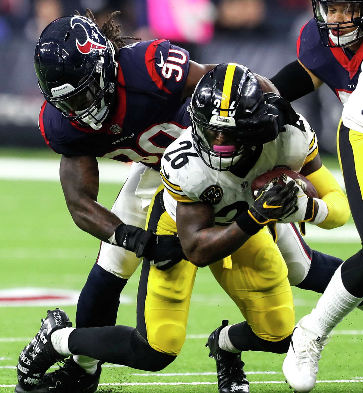 JOHN MCCLAIN'S TEXANS YEAR-END AWARDS Outstanding defensive playerJadeveon Clowney, outside linebackerIn his fourth season, he played every game for the first time and led the defense with 9 ½ sacks, 21 hits on the quarterback and 21 tackles for loss while moving from linebacker to end.