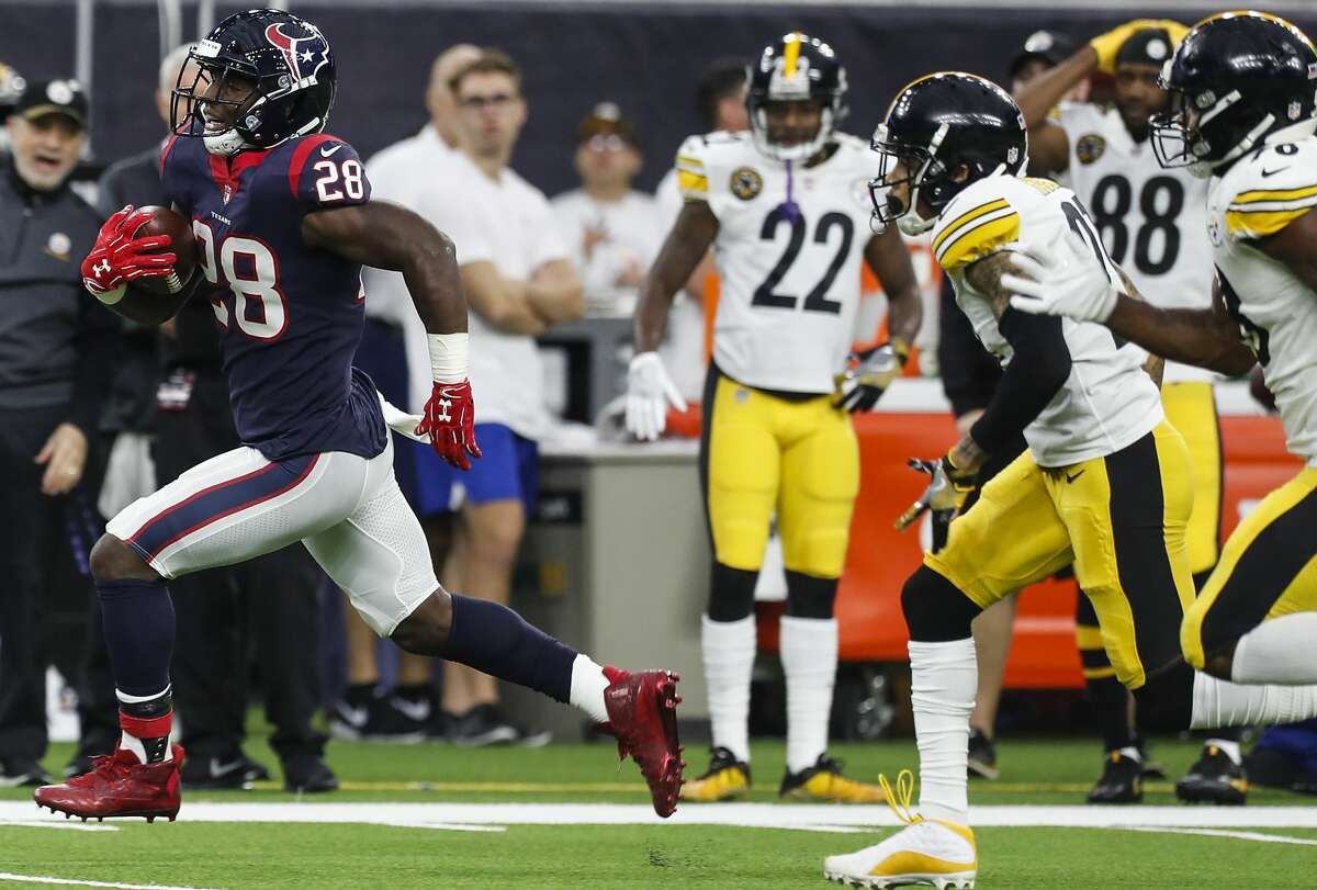 Running back The Texans ran for 176 yards against the NFL's eighth-ranked run defense. Alfred Blue came off the bench for 16 carries and 108 yards, including a 48-yard run. Lamar Miller added 55 yards on 10 carries. Grade: A