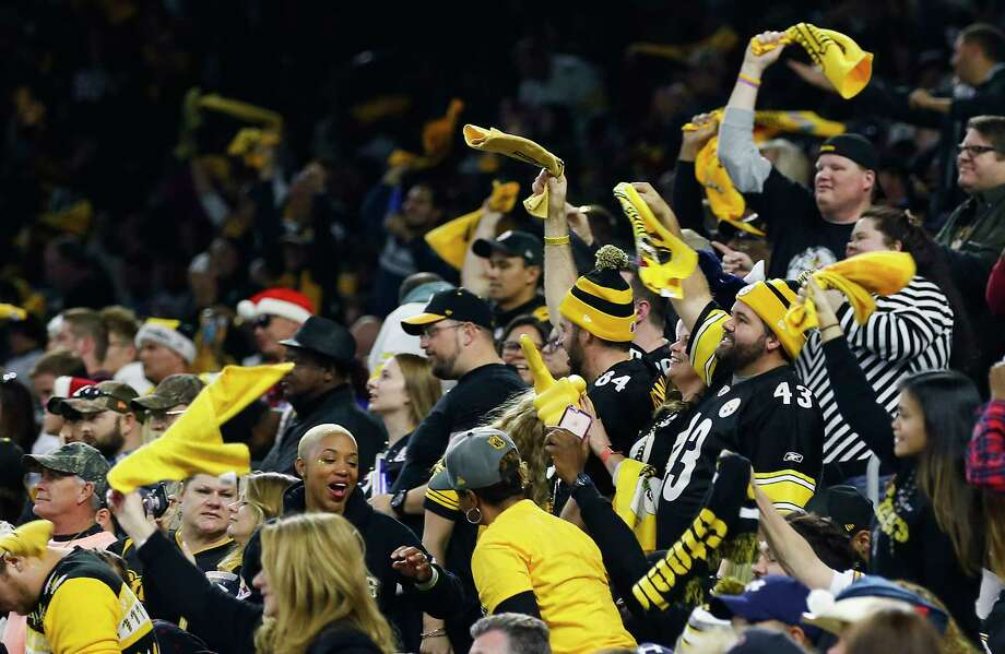 The Steelers' fans trademark Terrible Towels were plentiful Monday as a lack of interest by many Texans followers resulted in a Pittsburgh-heavy crowd. Photo: Brett Coomer, Staff / © 2017 Houston Chronicle