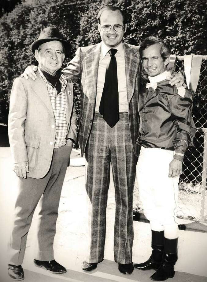 Sam Spear (center) stands with Hall of Fame jockeys Johnny Longden (left) and Bill Shoemaker at Bay Meadows in San Mateo in the early 1980s. Photo: Shane Micheli / Vassar Photography / Shane Micheli / Vassar Photography / Shane Micheli/  Vassar Photography