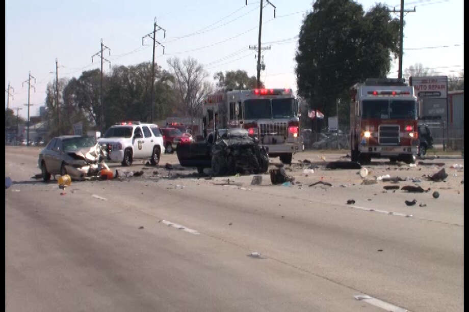 The drivers of two Mustangs racing southbound on Texas 249 crashed about 12:30 p.m. Christmas Day near Beltway 8.See more images here. Photo: Scott Engle/Montgomery County Police Reporter