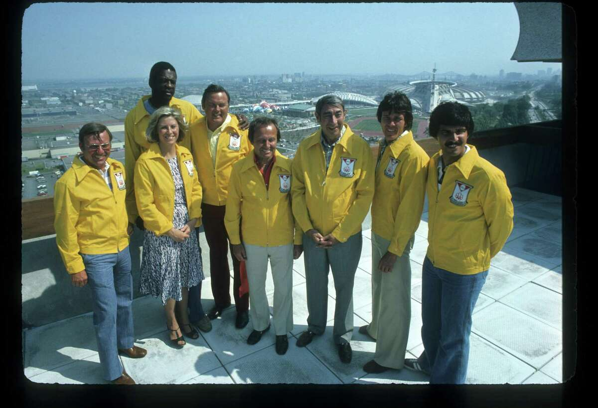 The 1976 Summer Olympic Games aired on the ABC Television Network from July 17 to Aug. 1, 1976. ABC sports commentators, Gordon Maddox, left, Donna de Varona, Bill Russell, Keith Jackson, Jim McKay, Howard Cosell, Bob Seagren and Mark Spitz.