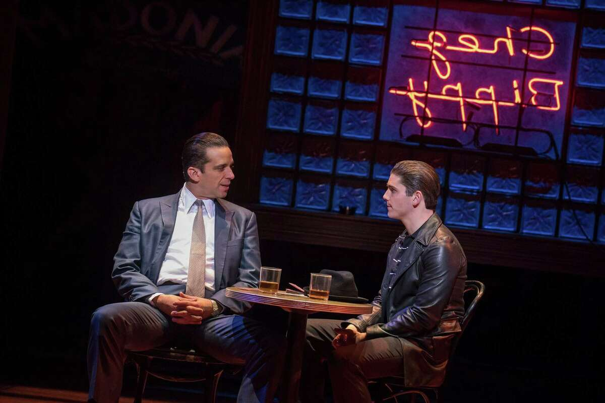 Nick Cordero, left, plays neighborhood gangster Sonny who becomes a mentor to Calogero (Adam Kaplan) in