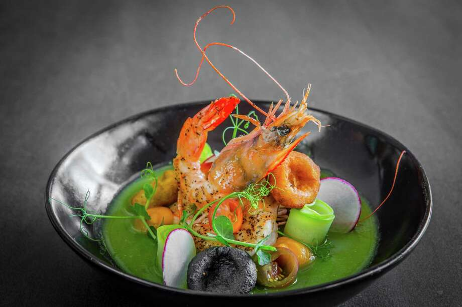 Camarones en Mole Verde (sauteed shrimp in green mole) at Xochi  Photo: Nick De La Torre / © de la Torre Photos LLC