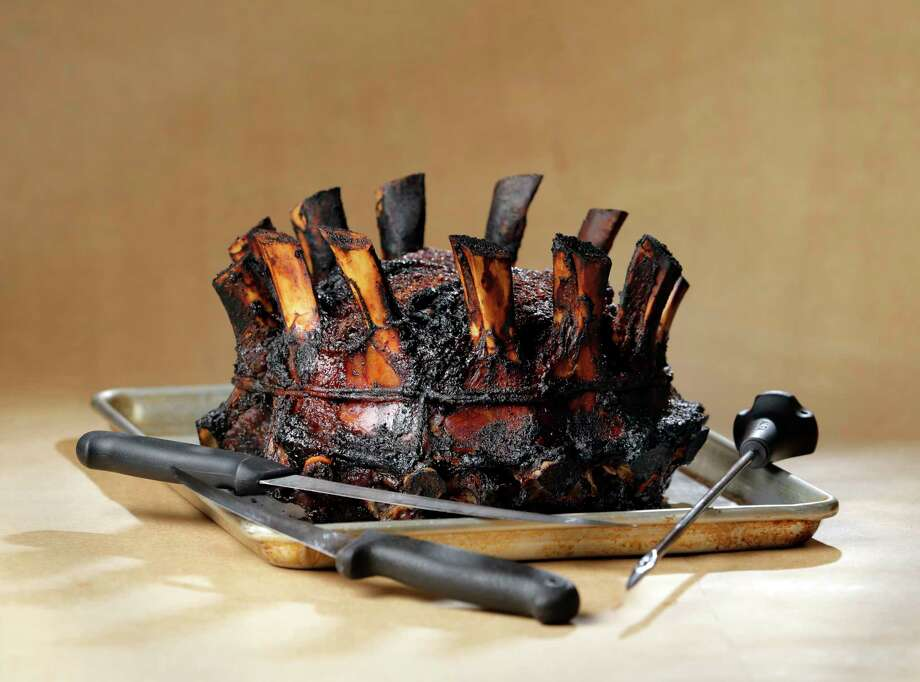 Dare we call it a crowning achievement? The finished recipe for a standing crown rib roast prepared by butcher Michael Majkszak of Majkszak's Meat Market in Conroe. Photo: Michael Wyke, Freelance / © 2017 Houston Chronicle