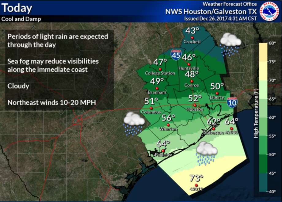 The greater Houston area can expect temperatures to range from 40 degrees to 60 degrees throughout the end of December 2017 and into the New Year, according to the National Weather Service.See the tell-tale signs that it's cold in Houston in the gallery ahead. Photo: National Weather Service