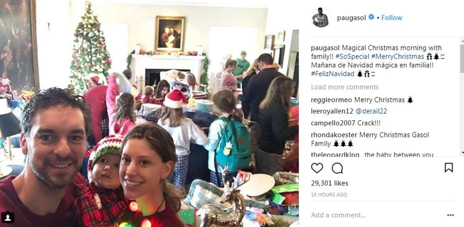"Pau Gasol had a ""magical Christmas morning"" Photo: Twitter, Instagram"