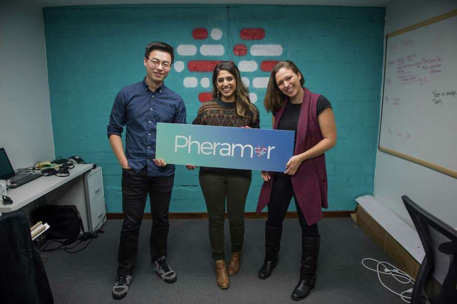 Bin Huang, Asma Mirza, and Brittany Barreto, co-founders of Pheramor, pose for a portrait in their downtown Houston office Wednesday November 29th. (Michael Starghill, Jr.) Photo: Michael Starghill Jr., Photographer / © Michael Starghill, Jr.