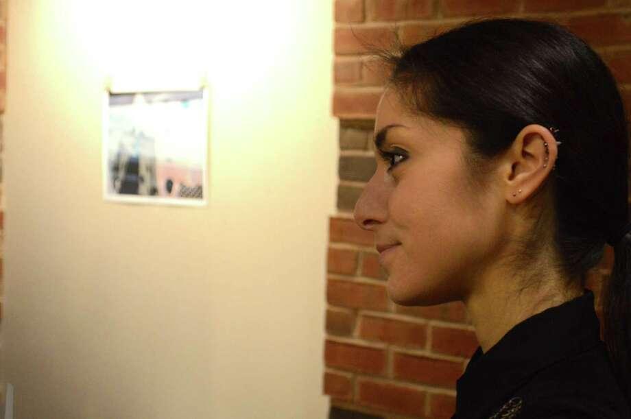 The photographic artist Allesandra Macbeth Mossa of Darien at her art show's opening at the Darien Library on Friday, Dec. 22, 2017, in Darien, Conn. Photo: Jarret Liotta / For Hearst Connecticut Media / Darien News Freelance