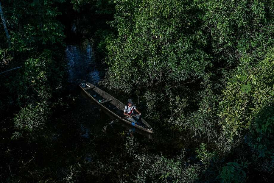 Amadeo Garcia Garcia fishes outside of Intuto, Peru. The Taushiro tribe vanished into the jungles generations ago, and Amadeo is now the last native speaker of their language. Photo: BEN C. SOLOMON, NYT