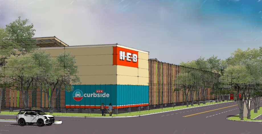 Renderings of a two-story H-E-B to be built in the northwest corner of Meyerland Plaza. The 95,000-square-foot store will include a kosher bakery. Photo: Courtesy Of H-E-B / Renderings courtesy of H-E-B