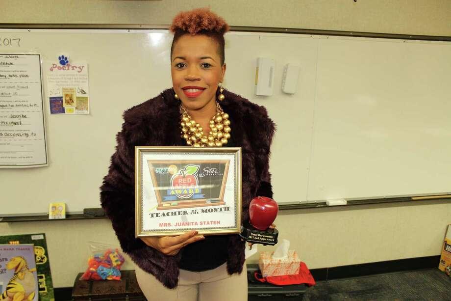 Juanita Staten, a kindergarten teacher at Briargate Elementary School, won the Red Apple Award for December 2017. Photo: Courtesy Photo