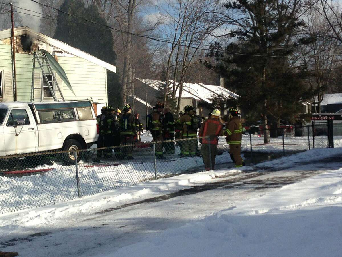 A man was found dead after a blaze at 490 Church Road in Guilderland on Tuesday, Dec. 26, 2017. (Paul Nelson/Times Union)