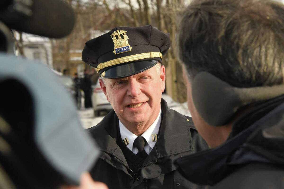 Captain Dan DeWolf talks to the press as Troy police investigate multiple deaths at 158 Second Ave. on Tuesday, Dec. 26, 2017 in Troy, N.Y. (Lori Van Buren / Times Union)