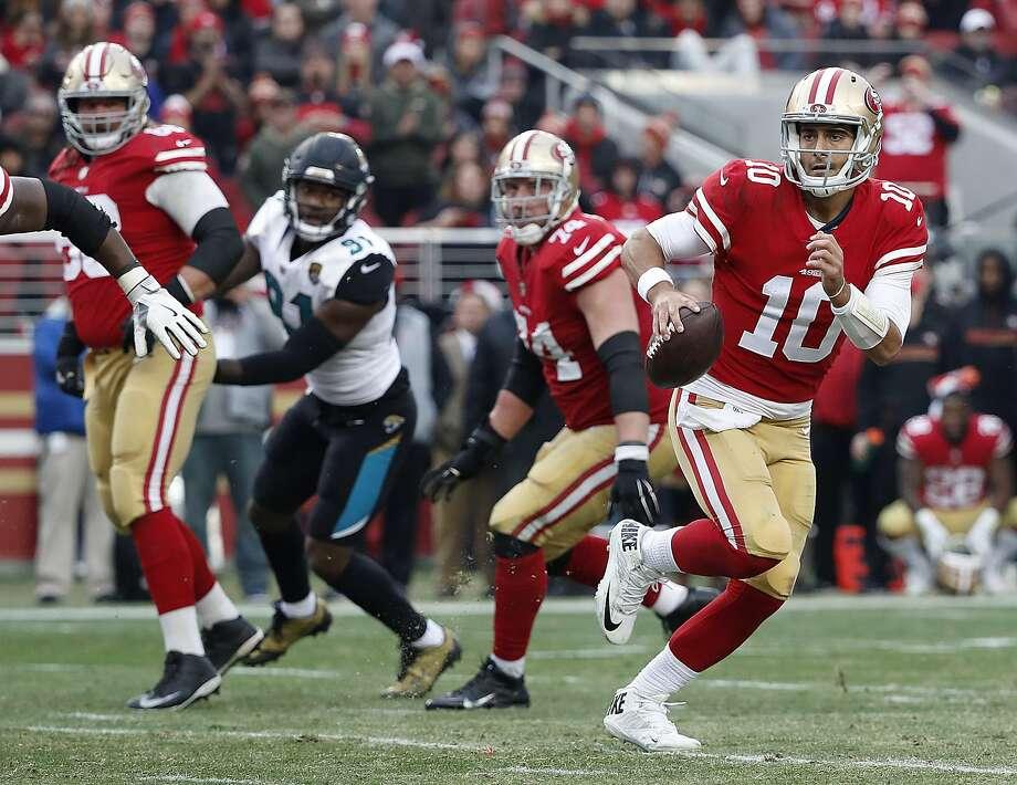 San Francisco 49ers quarterback Jimmy Garoppolo (10) against the Jacksonville Jaguarsduring the second half of an NFL football game in Santa Clara, Calif., Sunday, Dec. 24, 2017. (AP Photo/Tony Avelar) Photo: Tony Avelar, Associated Press